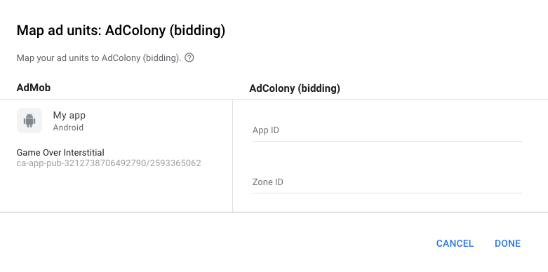 AdColony Configure Ad Units