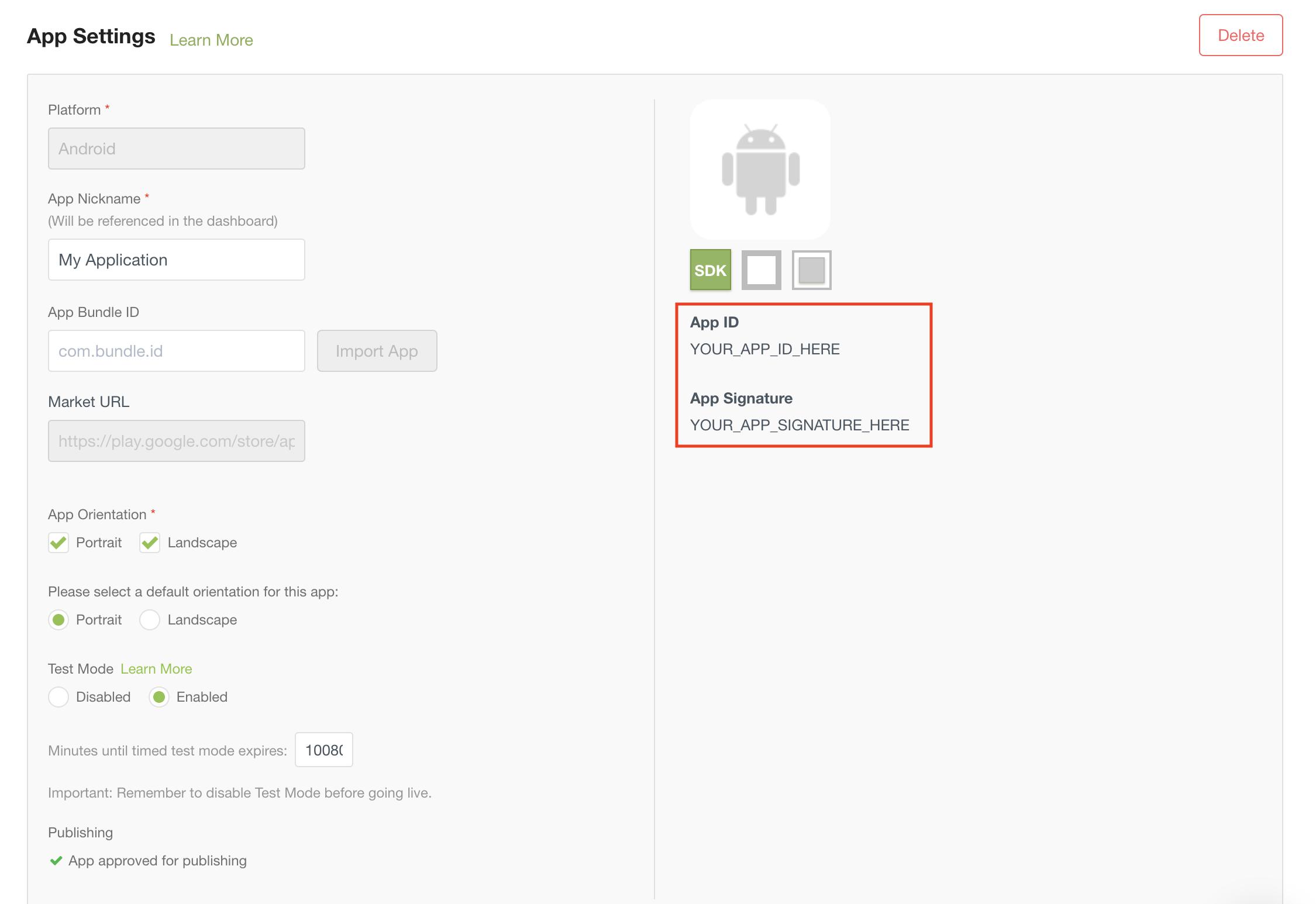 Chartboost app settings