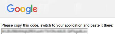 OAuth 2.0 認証コードのスクリーンショット