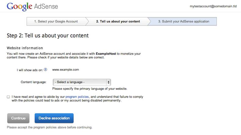 アカウントの作成や関連付けは AdSense ウェブサイト上で行います。