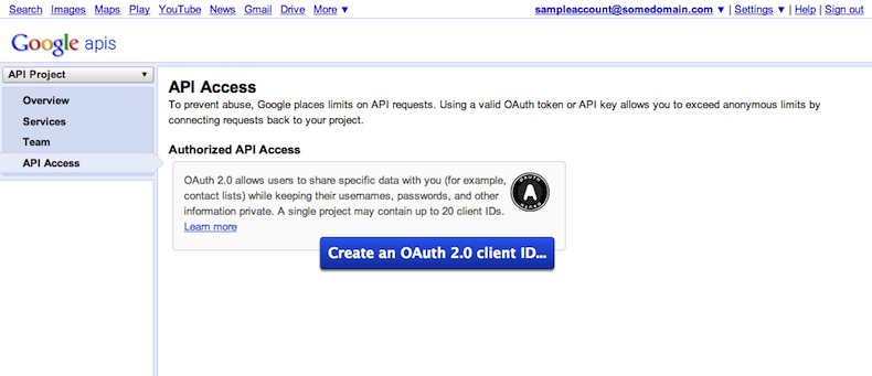 "Podrás crear clientes OAuth 2.0 en la pestaña ""API Access"" (Acceso a la API)."