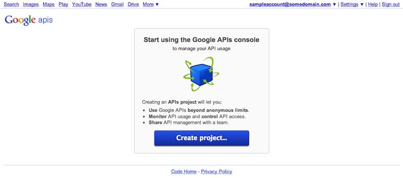 API 콘솔 페이지에서 새 프로젝트를 만들 수 있습니다.