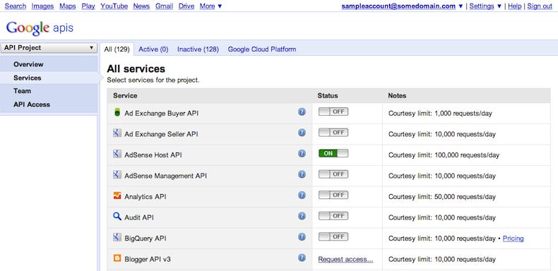 """A guia """"Serviços"""" permite que você escolha as APIs ativas no seu projeto."""