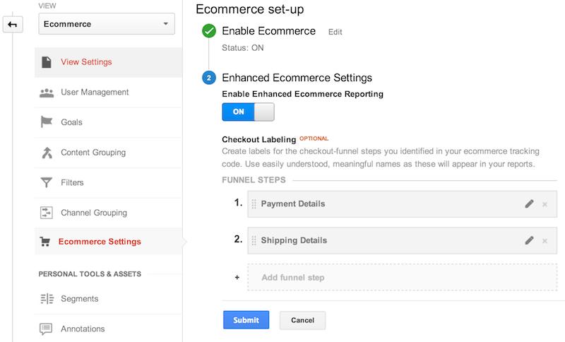 """Configurações do comércio eletrônico na seção """"Administrador"""" da interface da Web do Google Analytics.O comércio eletrônico está ativado e w rótulos de etapas do funil de checkout foram adicionados: 1.Detalhes de pagamento e 2.Detalhes de envio"""