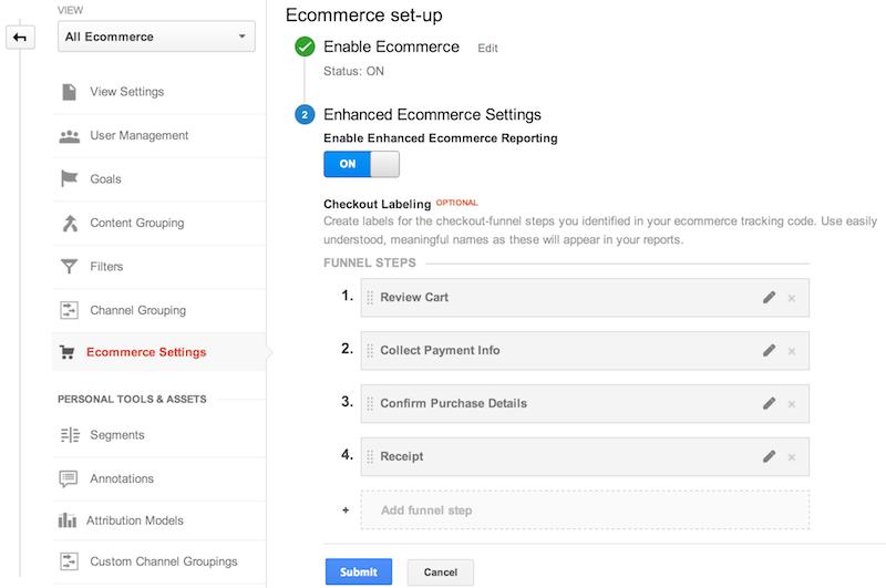 """Configurações do comércio eletrônico na seção """"Administrador"""" da interface da Web do Google Analytics.O comércio eletrônico está ativado, e quatro rótulos de etapas do funil de checkout foram adicionados: 1.Revisar carrinho de compras, 2.Coletar informações de pagamento, 3.Confirmar detalhes de compra, 4.Recibo"""