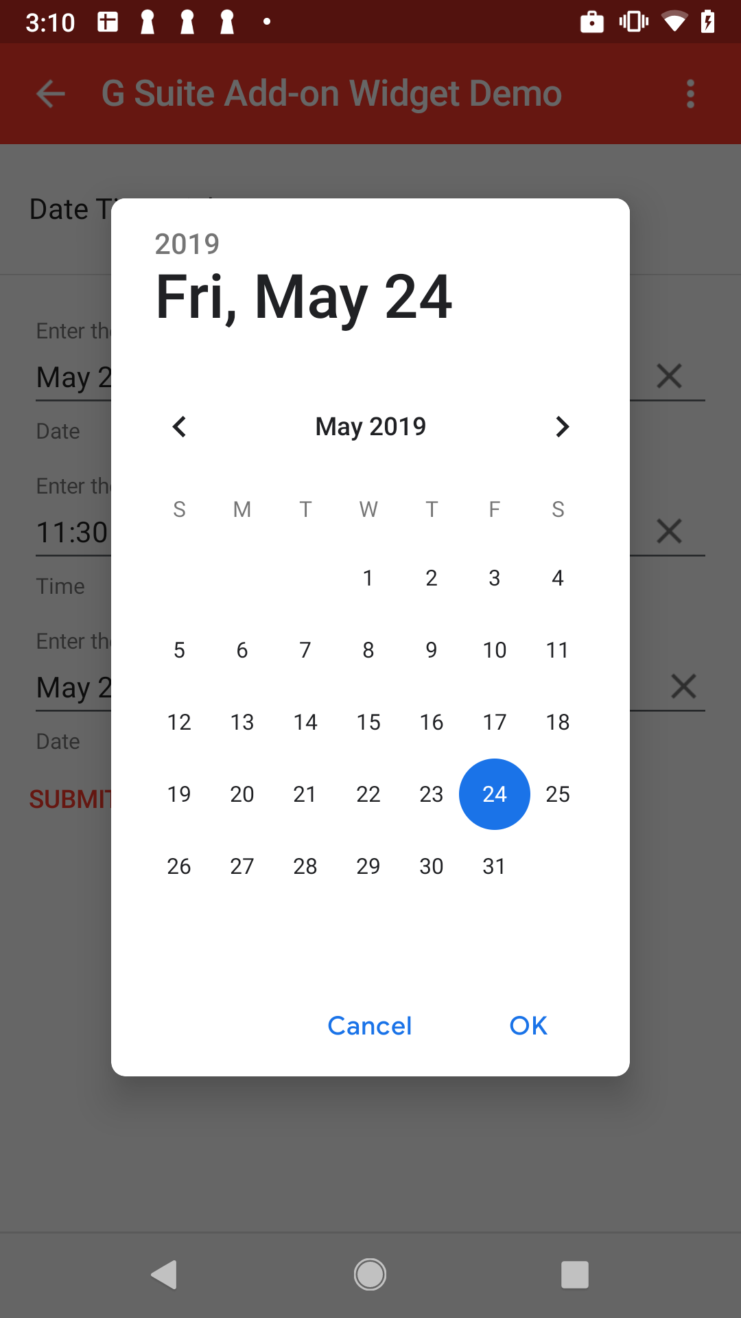mobile date picker selection example