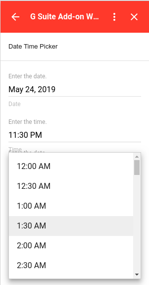 time picker selection example