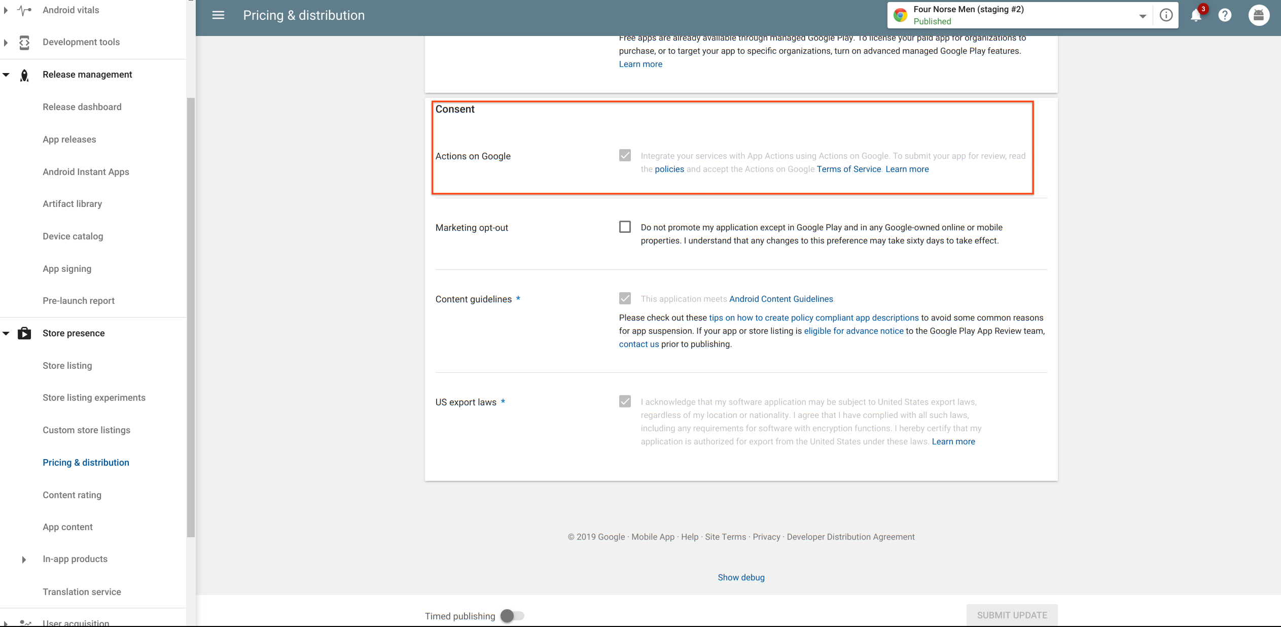 Actions on Google Terms of Service in the Google Play console.