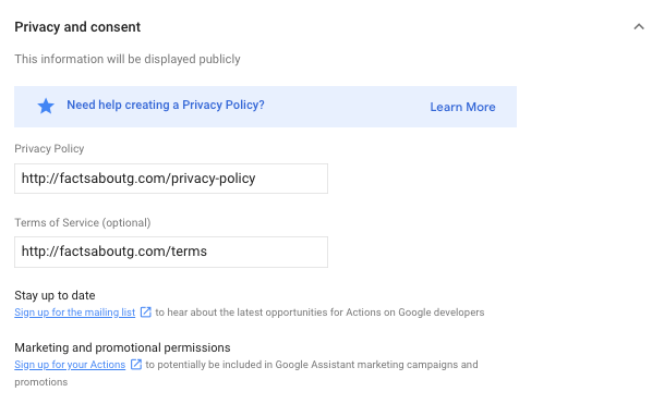 The privacy and consent section of the directory information page