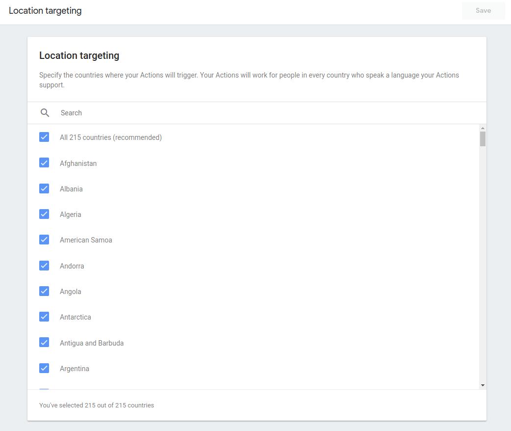 Screenshot of location targeting options