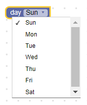 Dropdown field with days of the week