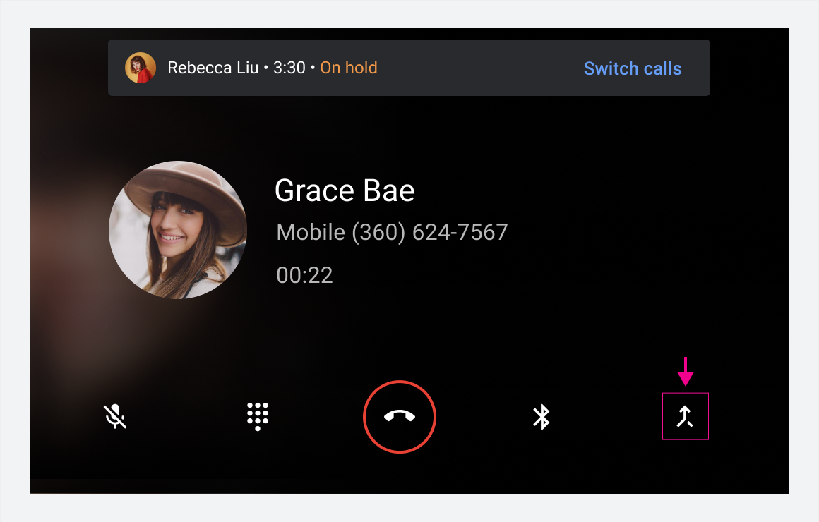 In-call status screen and the in-call control bar with higlighted merge button