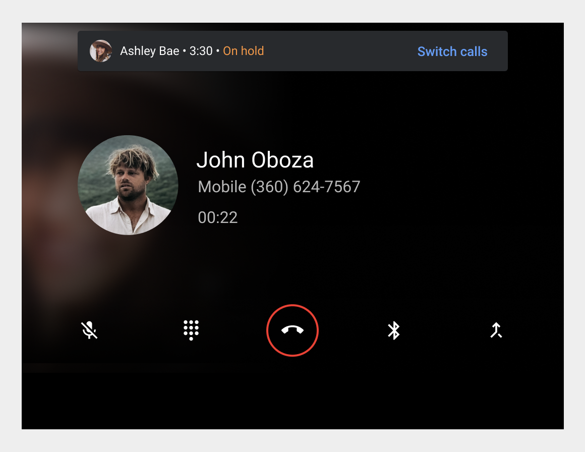 In-call status screen with call on hold