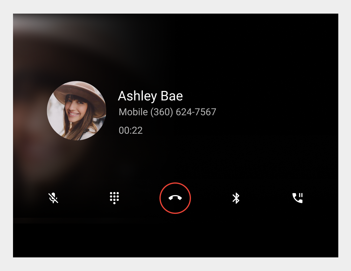 In-call status screen with control bar