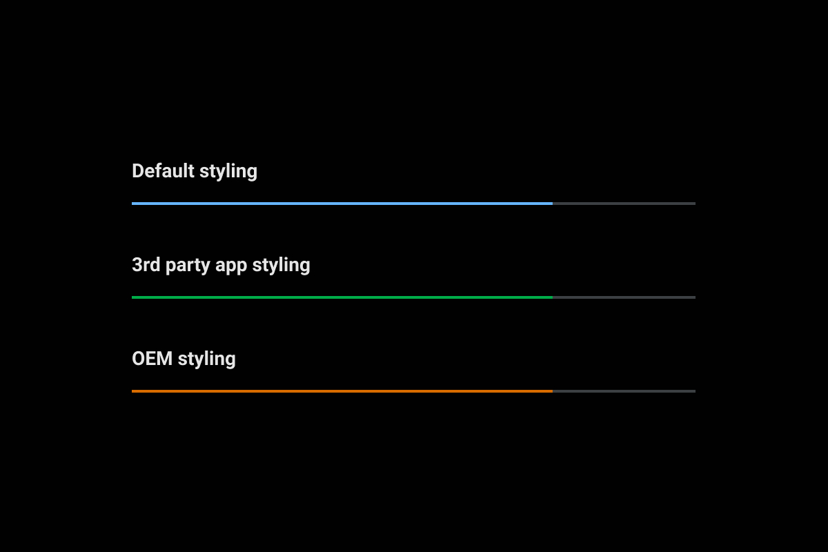Linear media progress bar showing active track using default, third-party, and OEM accent colors