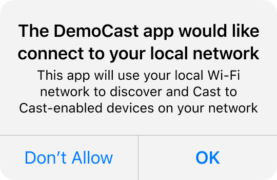 Cast Local Network Access permissions dialog image