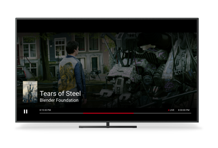 A TV Showing Chromecast's Live UI for Scenario 7 with Clock Time