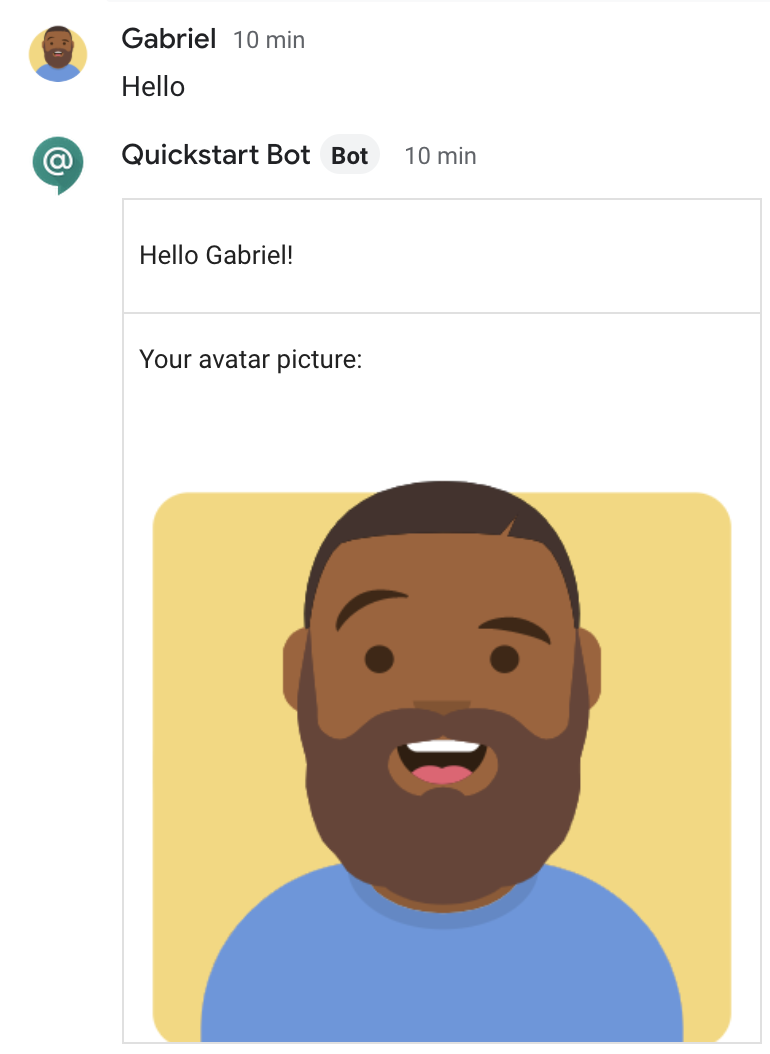 Chat bot responding with a card featuring the sender's display name and avatar image