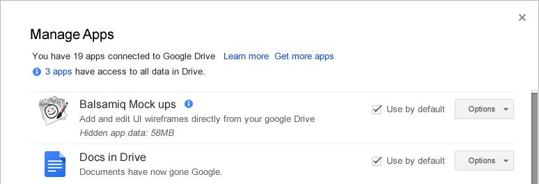Manage apps dialog showing Application Data folder size