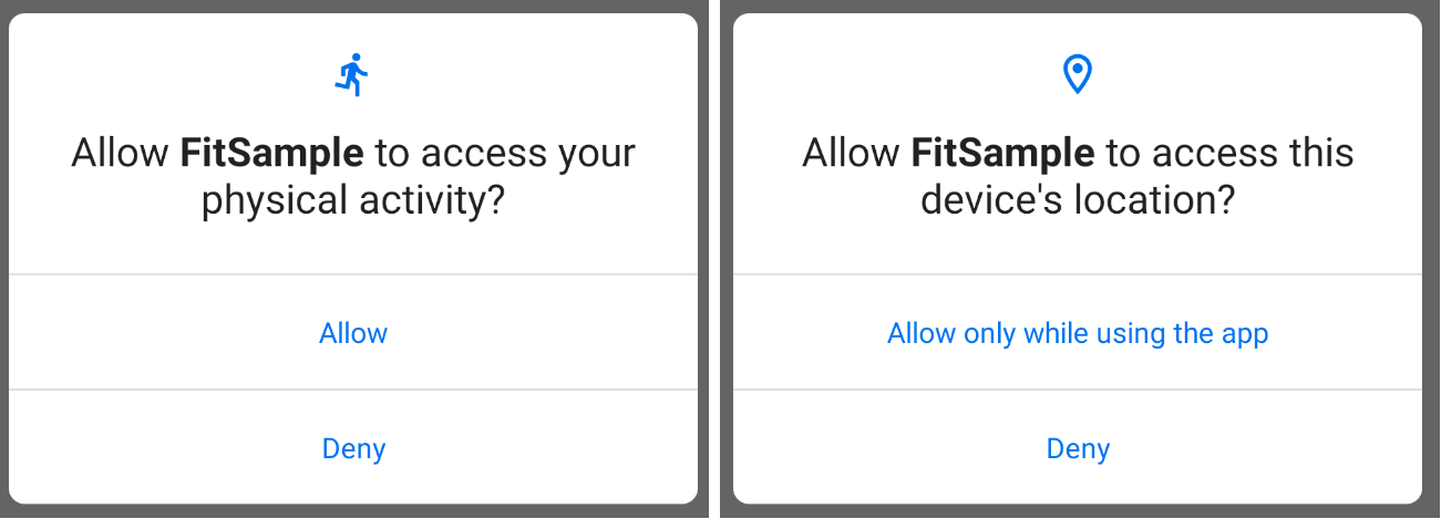 Example of the Android permissions consent screen