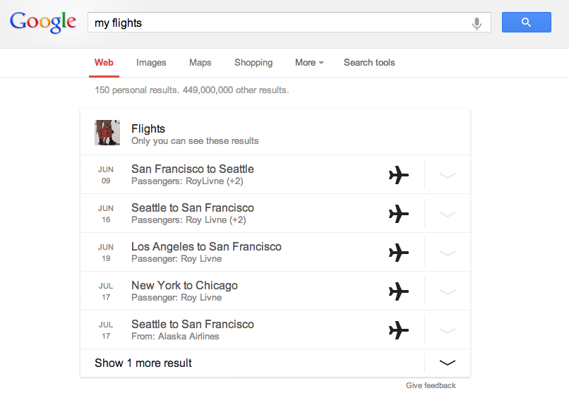 Flights Answer card in Google Search