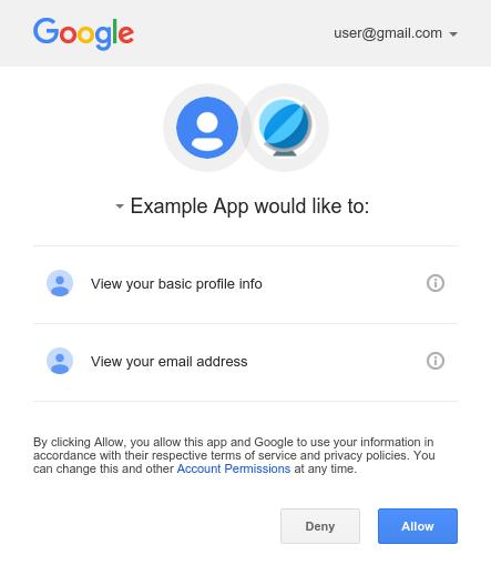 Ejemplo de pantalla de consentimiento para un cliente de dispositivo