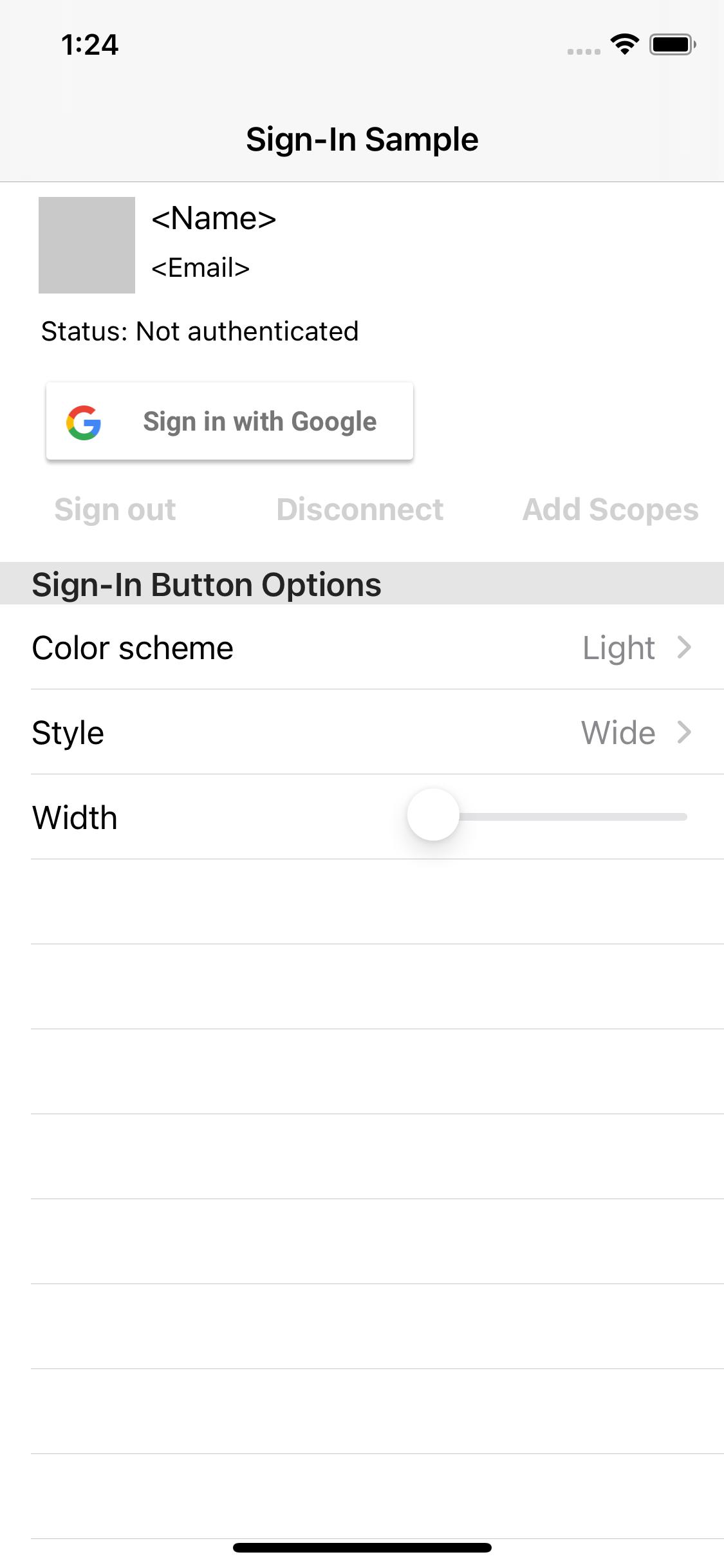 Captura de tela do aplicativo de amostra