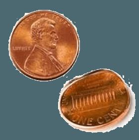 2 个弯曲的硬币