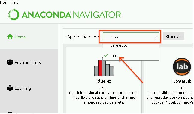 Screenshot of Anaconda Navigator, with 'mlcc' selected from         environment dropdown