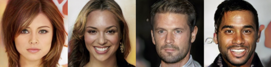 Image of four photorealistic faces created by a generative adversarial network.