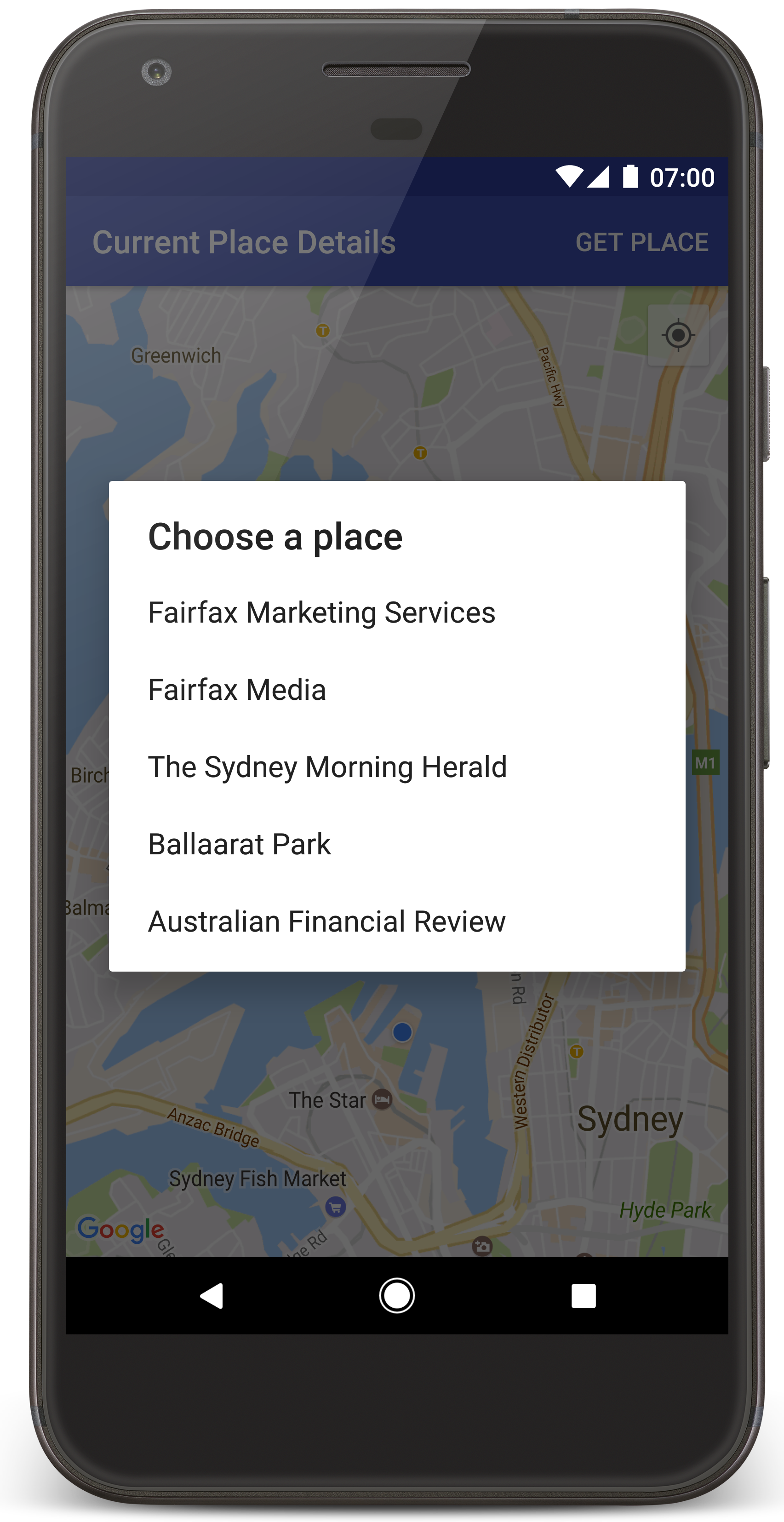 Select Current Place And Show Details On A Map Maps Sdk For Android