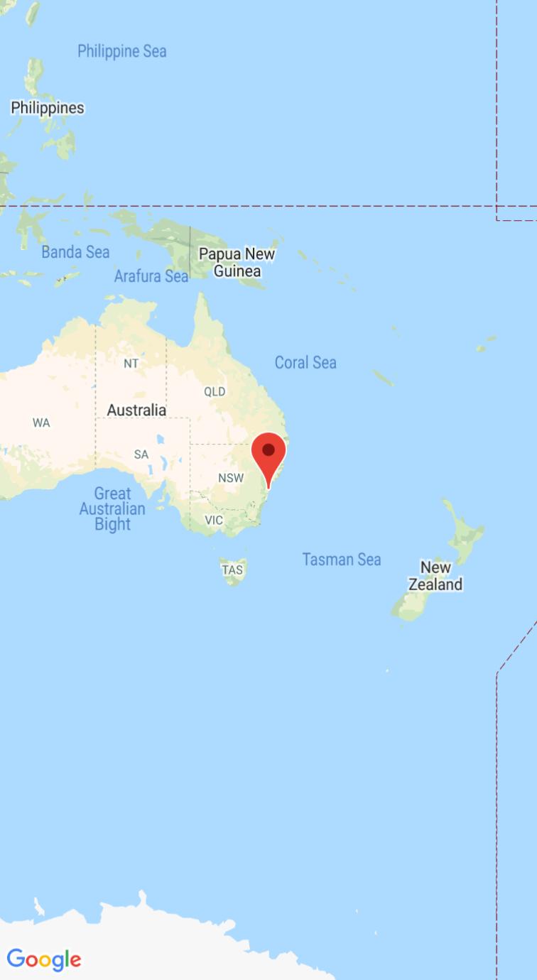 Screenshot der Karte mit Markierung auf Sydney