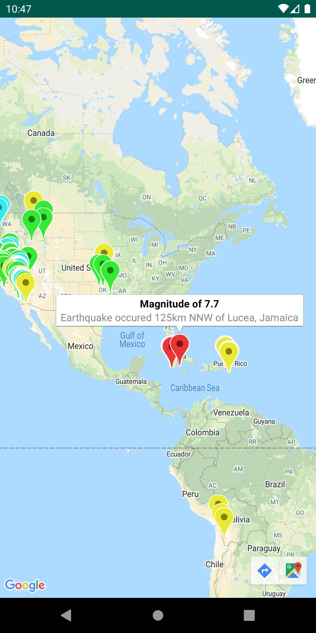 Sebuah peta dengan lapisan GeoJSON