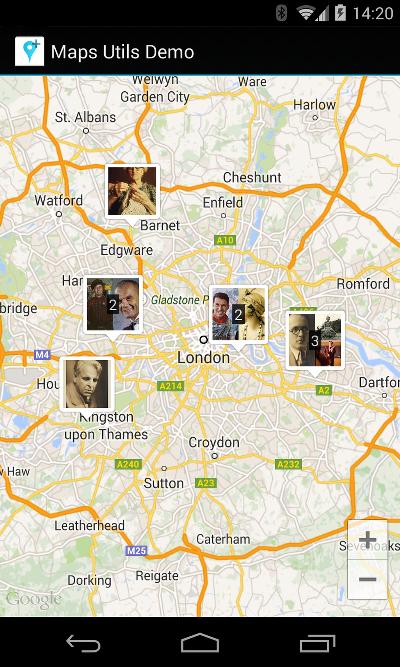 一幅包含自定义聚类标记的地图