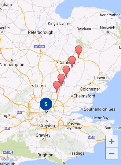 Peta dengan sepuluh penanda yang dikelompokkan
