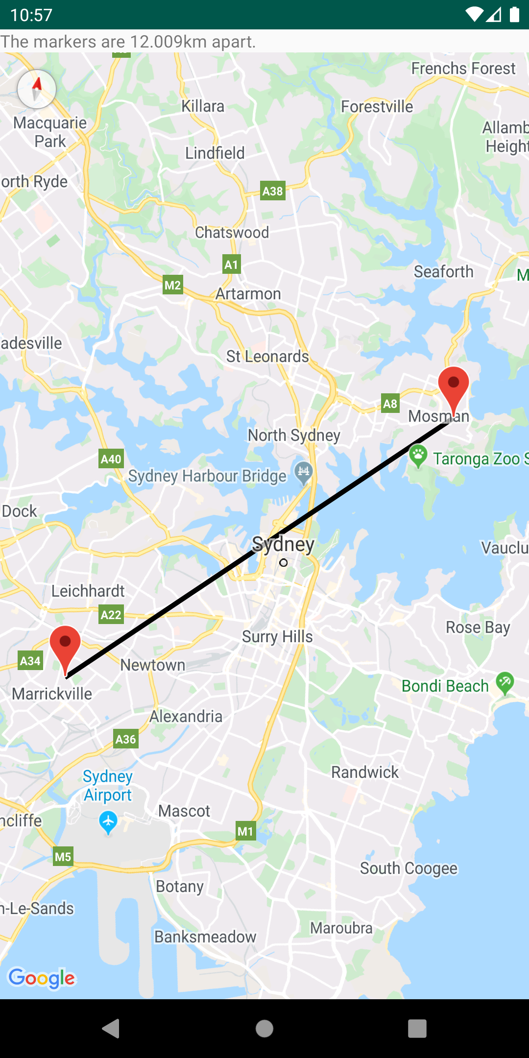 Calculated distance between two points on a map