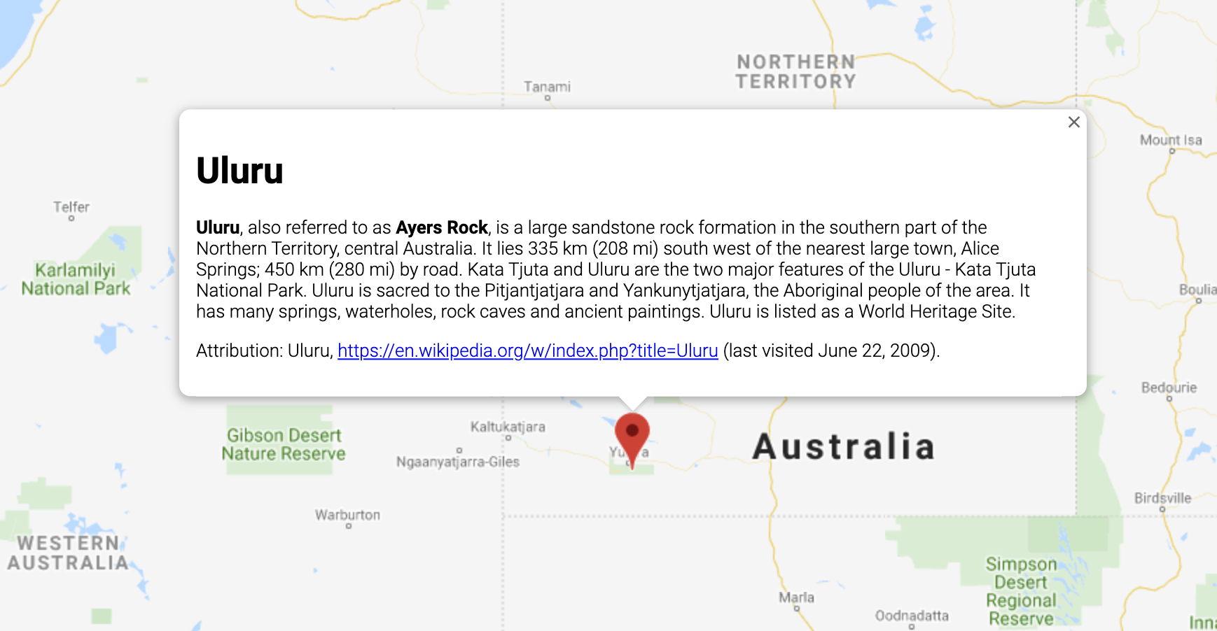 An InfoWindow displaying information about a location in Australia.