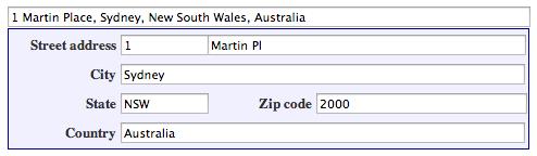 Um formulário de endereço preenchido.