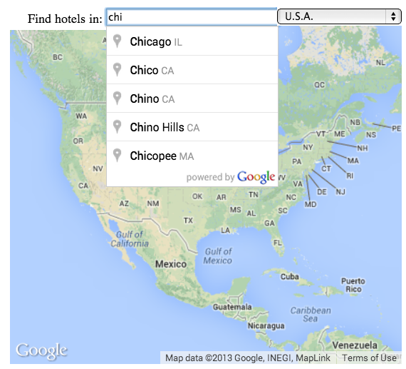 显示部分城市搜索查询词语和要匹配的地点的自动完成文本字段。