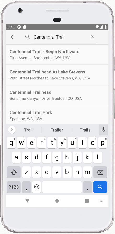 Places Search Demo app screen