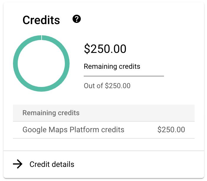 Crédits Google MapsPlatform supplémentaires
