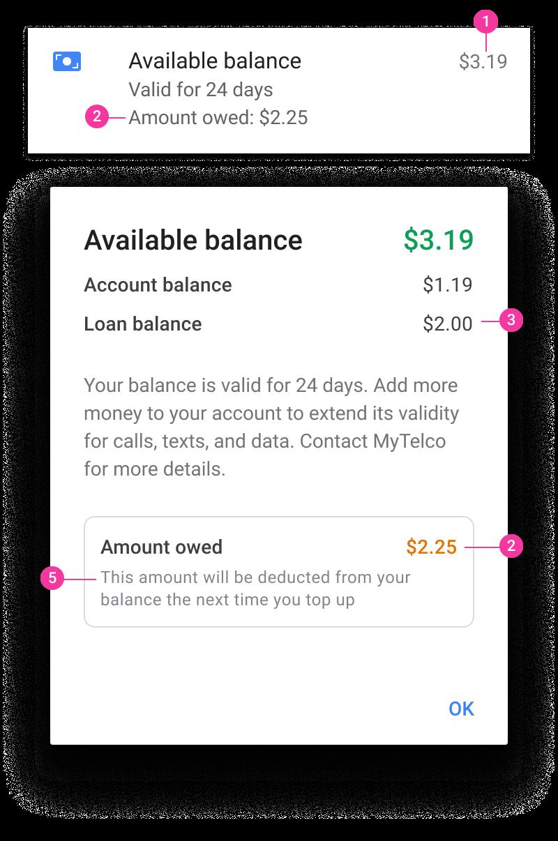Account balance and loan dialog