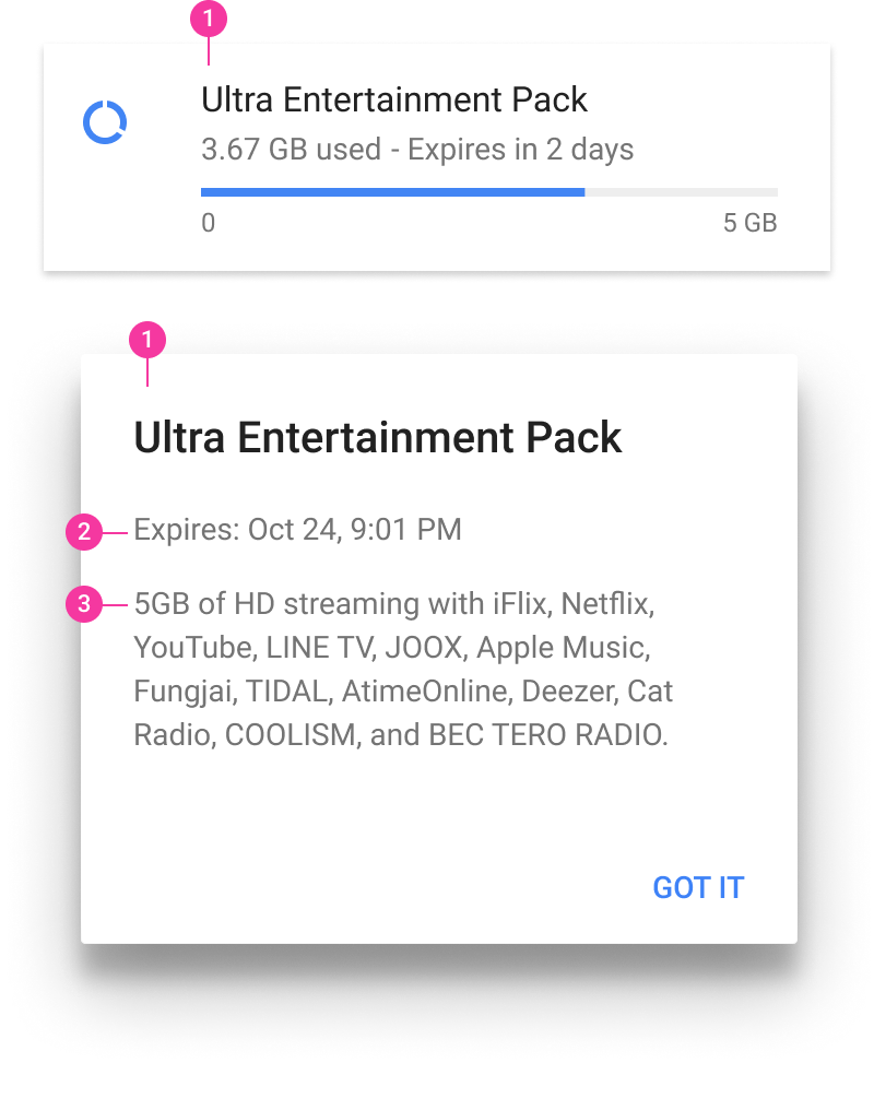 Module line item and dialog for Ultra entertainment pack dialog pointing to description