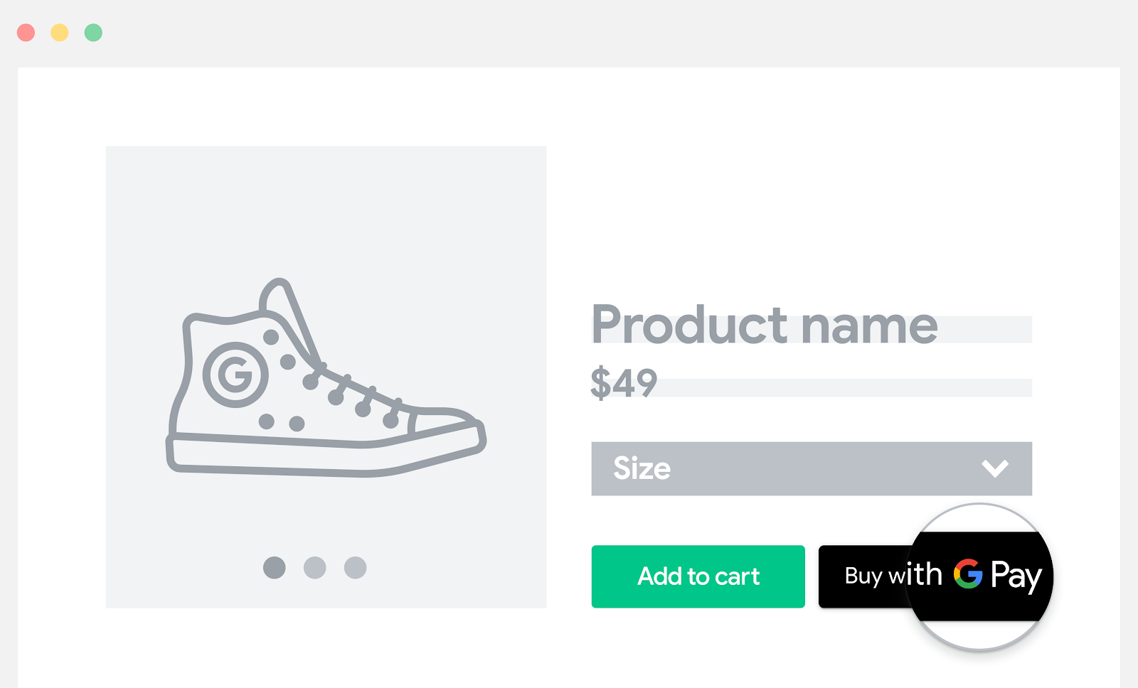 将 Google Pay 添加到商品页面。