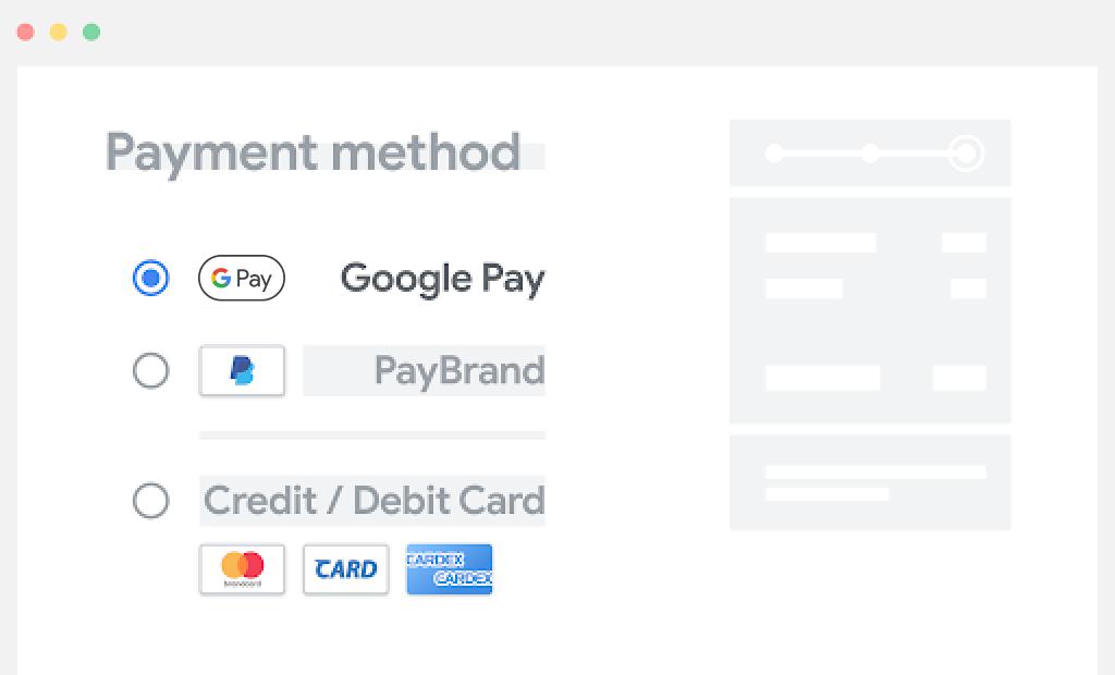 将 Google Pay 放在付款选项列表的顶部。