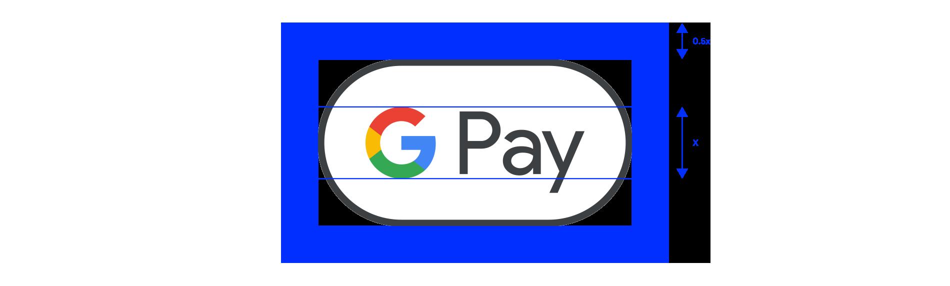 Пример свободного пространства вокруг символа Google Pay
