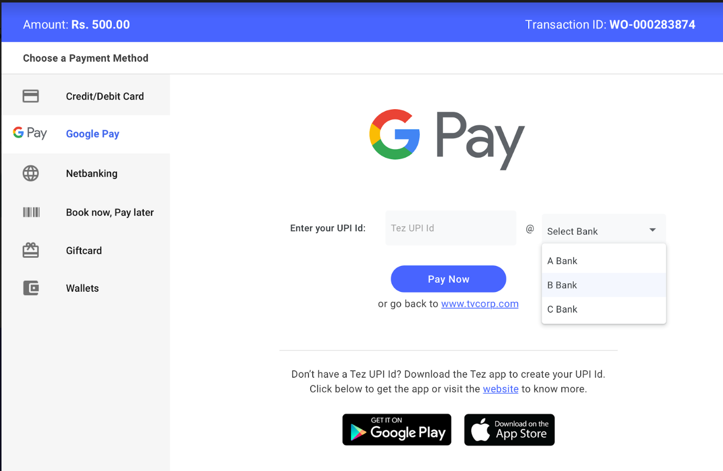 Pay with Google pay