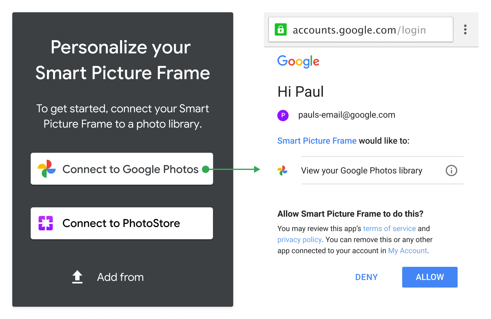 Screenshot of acceptable usage of Google Photos branded for                   action button