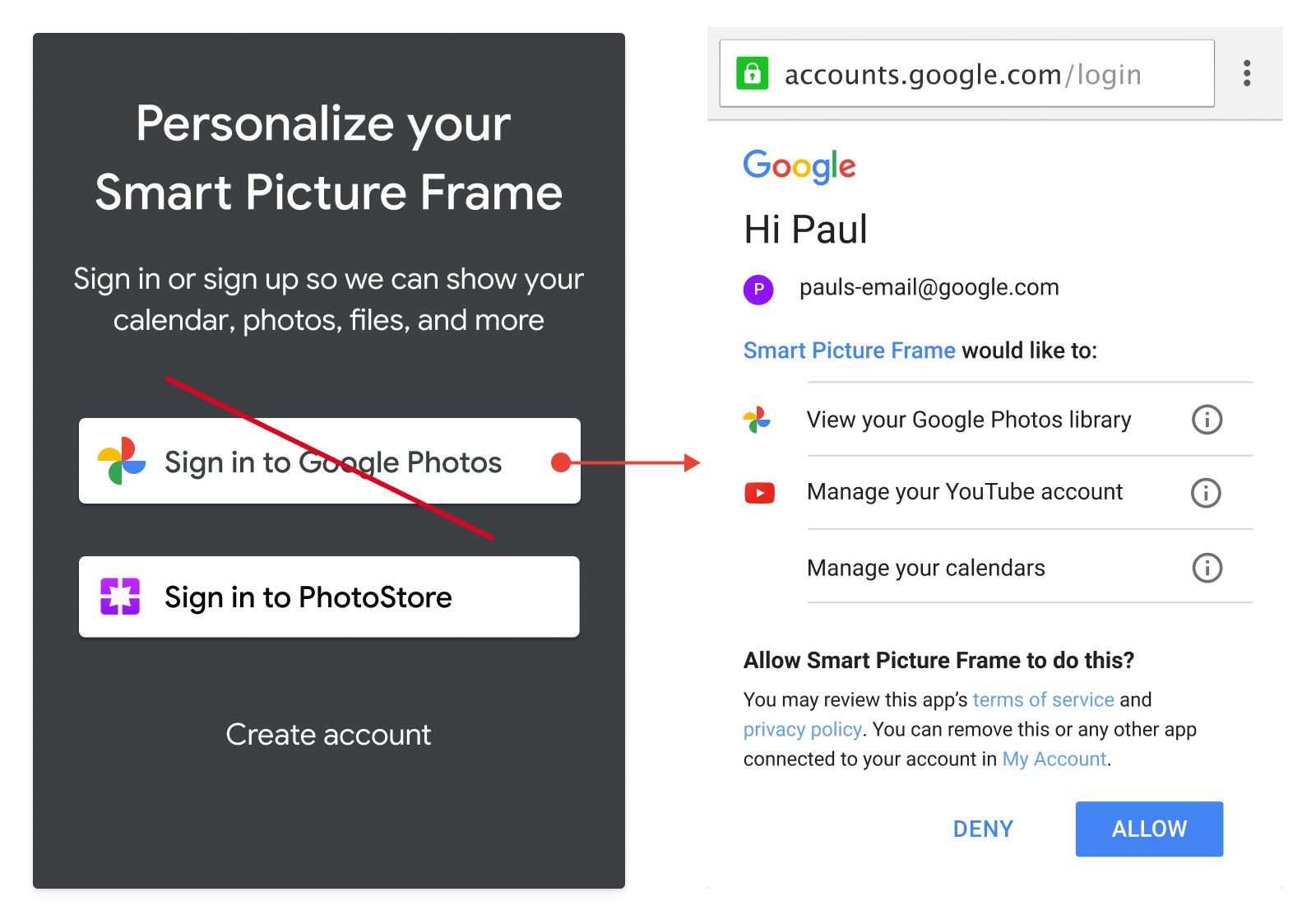 Screenshot of unacceptable usage of Google Photos branded                   action button