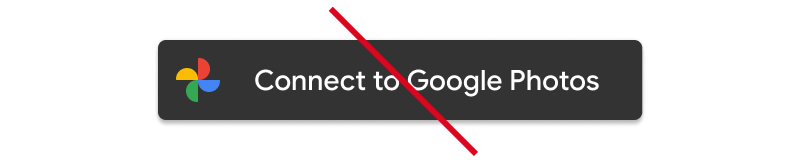 Screenshot of unacceptable usage of Google Photos action                   button with colored background